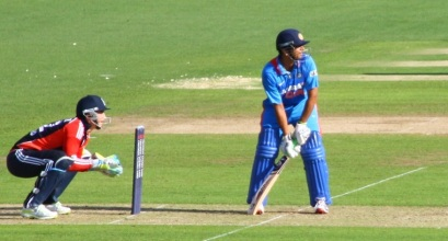 Rahul Dravid batting during his last ODI at Cardiff